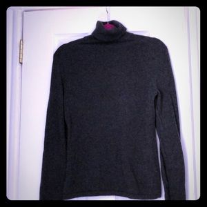 Charcoal Gray Turtleneck Cashmere Sweater